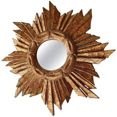Petit French Gold Gilt Sunburst Starburst Mirror