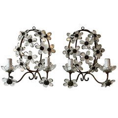 Maison Baguès Style Clear Crystal Flower Sconces