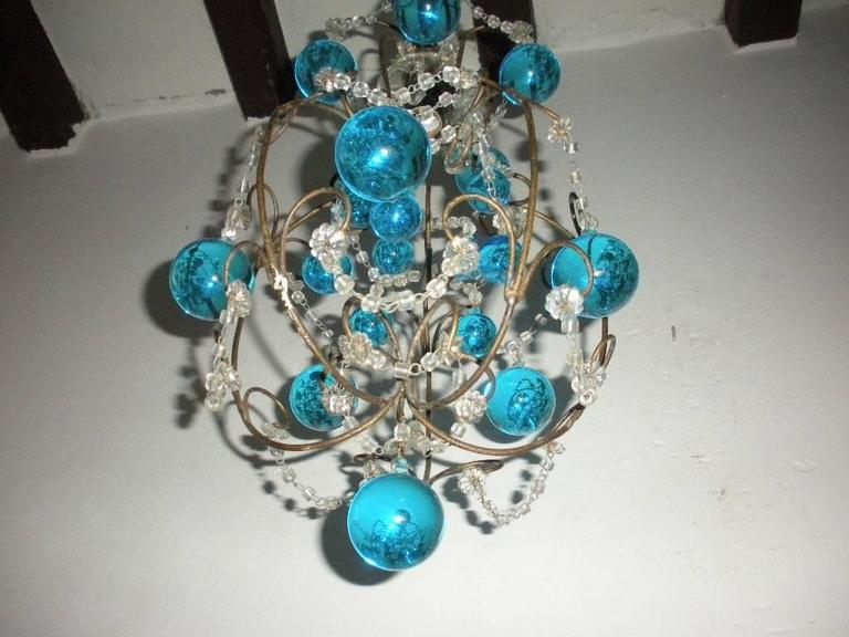 Vintage French Huge Aqua Murano Balls Chandelier In Excellent Condition For Sale In Modena (MO), IT