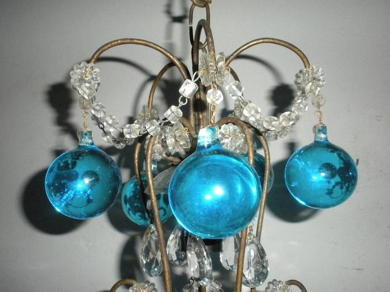 Early 20th Century Vintage French Huge Aqua Murano Balls Chandelier For Sale