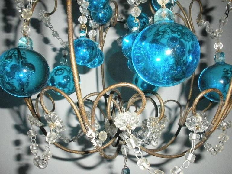 Vintage French Huge Aqua Murano Balls Chandelier For Sale 1