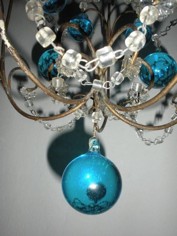 Vintage French Huge Aqua Murano Balls Chandelier For Sale 2