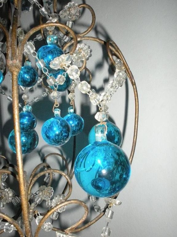 Vintage French Huge Aqua Murano Balls Chandelier For Sale 3