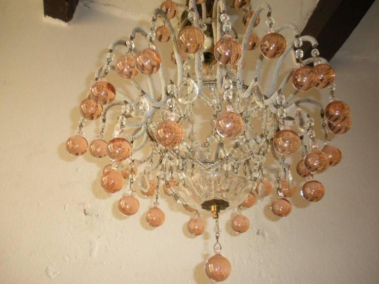French Micro Beaded Pink Murano Balls Chandelier, circa 1920 For Sale