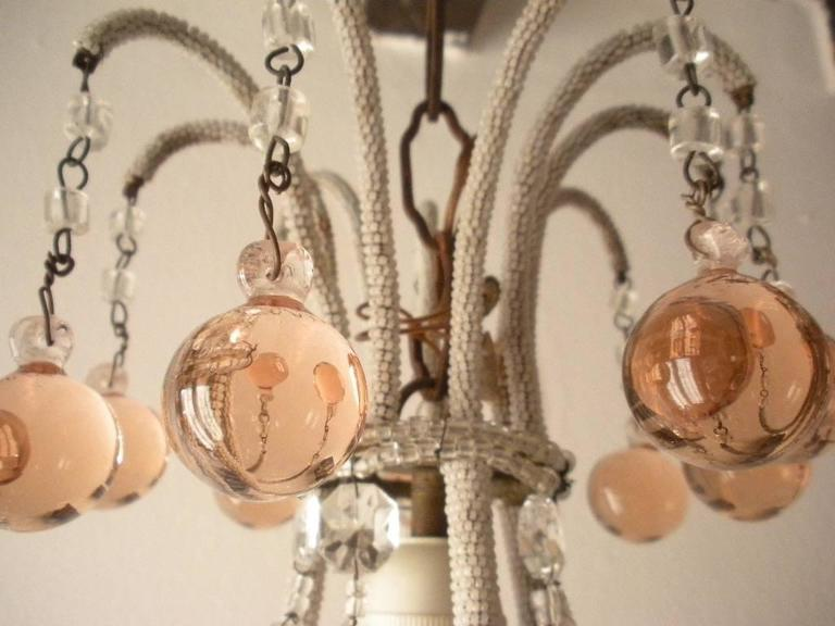 Micro Beaded Pink Murano Balls Chandelier, circa 1920 In Excellent Condition For Sale In , IT