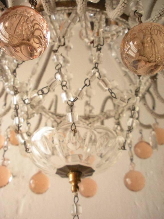 Murano Glass Micro Beaded Pink Murano Balls Chandelier, circa 1920 For Sale