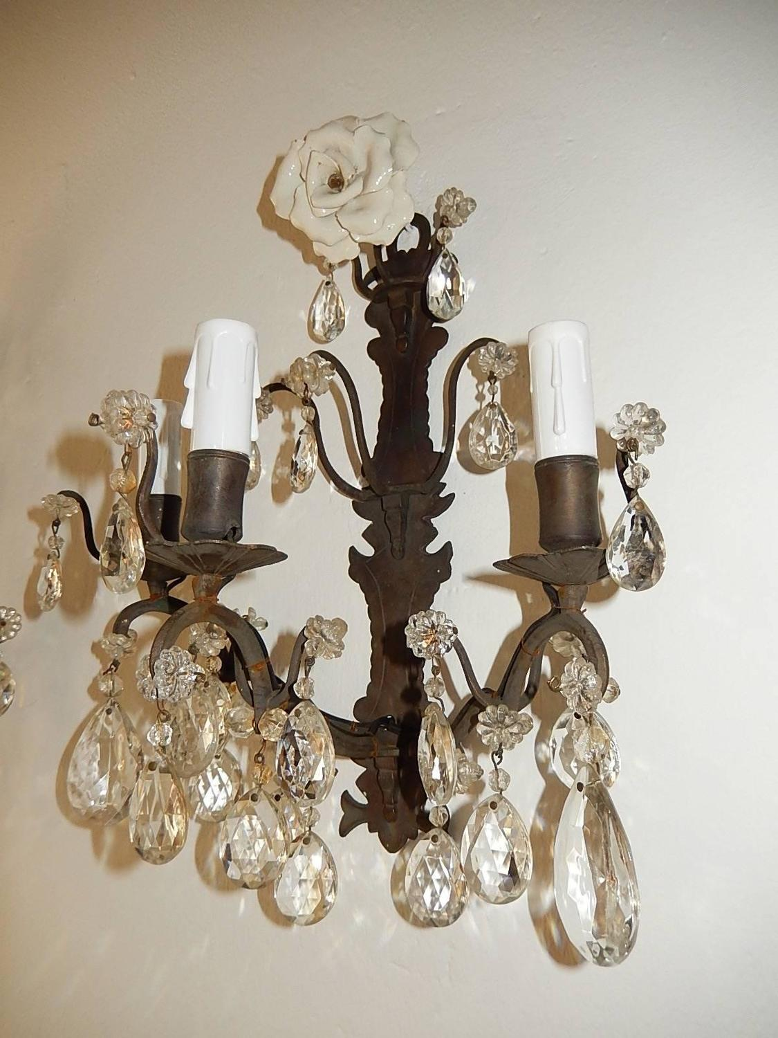 White Crystal Wall Sconces : French White Rose Crystal Bronze Three-Light Sconces at 1stdibs