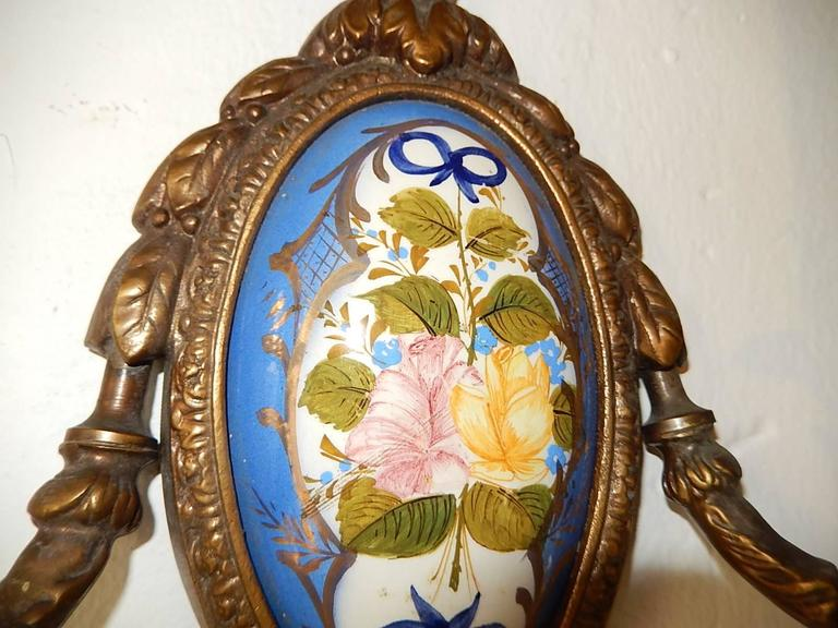 1900 Sevres Style Hand Painted Floral Bronze Bows Sconces For Sale At 1stdibs