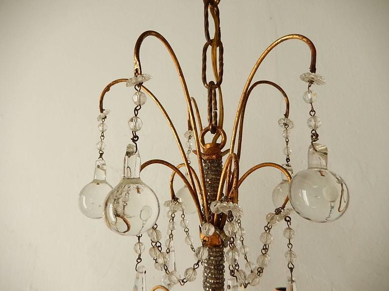 Early 20th Century French Micro Beaded Polychrome Murano Balls Crystal Chandelier, circa 1920 For Sale