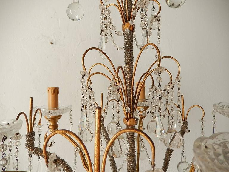 Murano Glass French Micro Beaded Polychrome Murano Balls Crystal Chandelier, circa 1920 For Sale