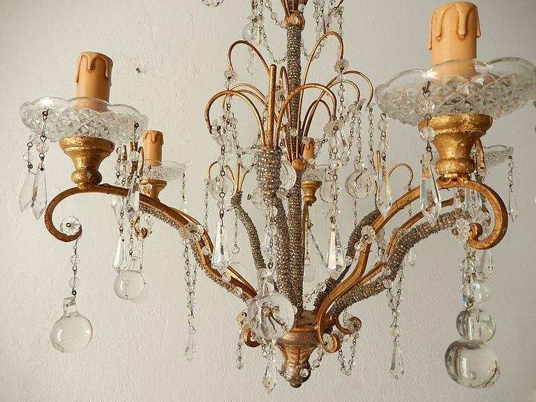 French Micro Beaded Polychrome Murano Balls Crystal Chandelier, circa 1920 For Sale 1