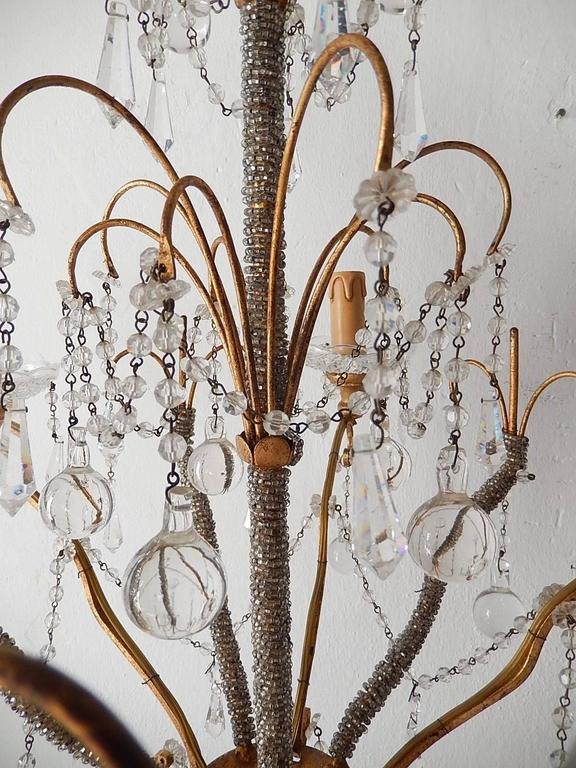 French Micro Beaded Polychrome Murano Balls Crystal Chandelier, circa 1920 For Sale 2