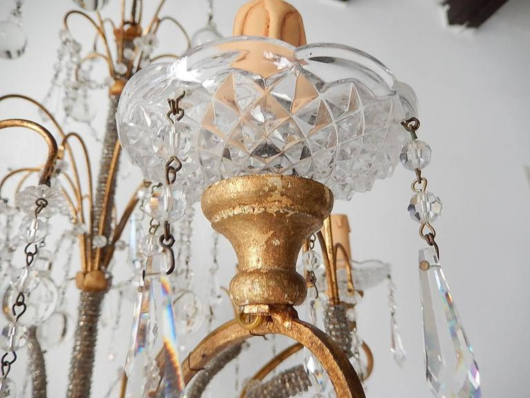 French Micro Beaded Polychrome Murano Balls Crystal Chandelier, circa 1920 For Sale 4