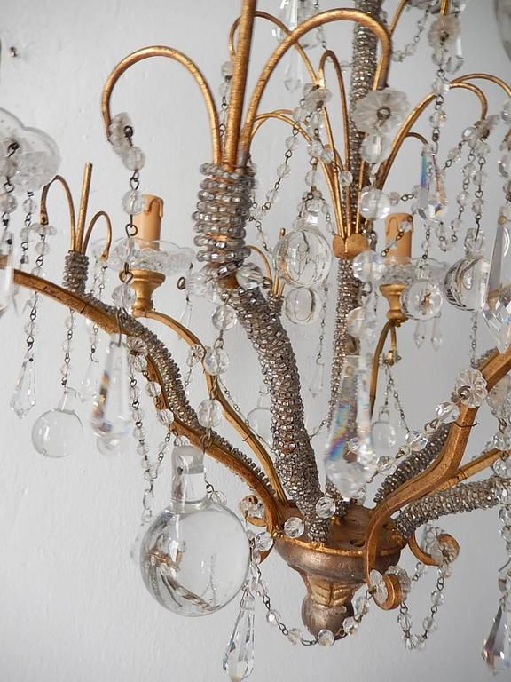 French Micro Beaded Polychrome Murano Balls Crystal Chandelier, circa 1920 For Sale 5