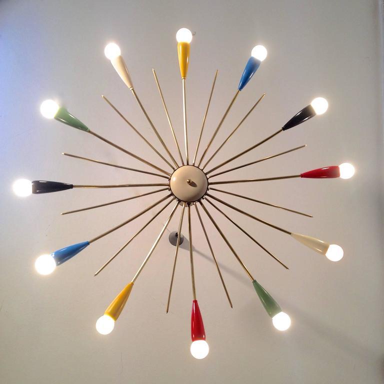 Sputnik Style Chandelier: Multi-Color Mid-Century Stilnovo Style 12-Arm Sputnik Chandelier, Italy 3,Lighting