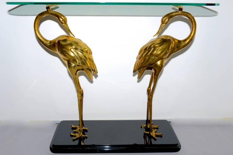 Regency Style Console Table With Brass Herons Base At 1stdibs