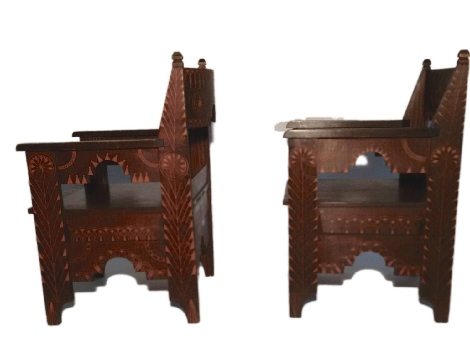 Pair of carved wooden chairs with moorish pattern italy for Carved wooden chaise