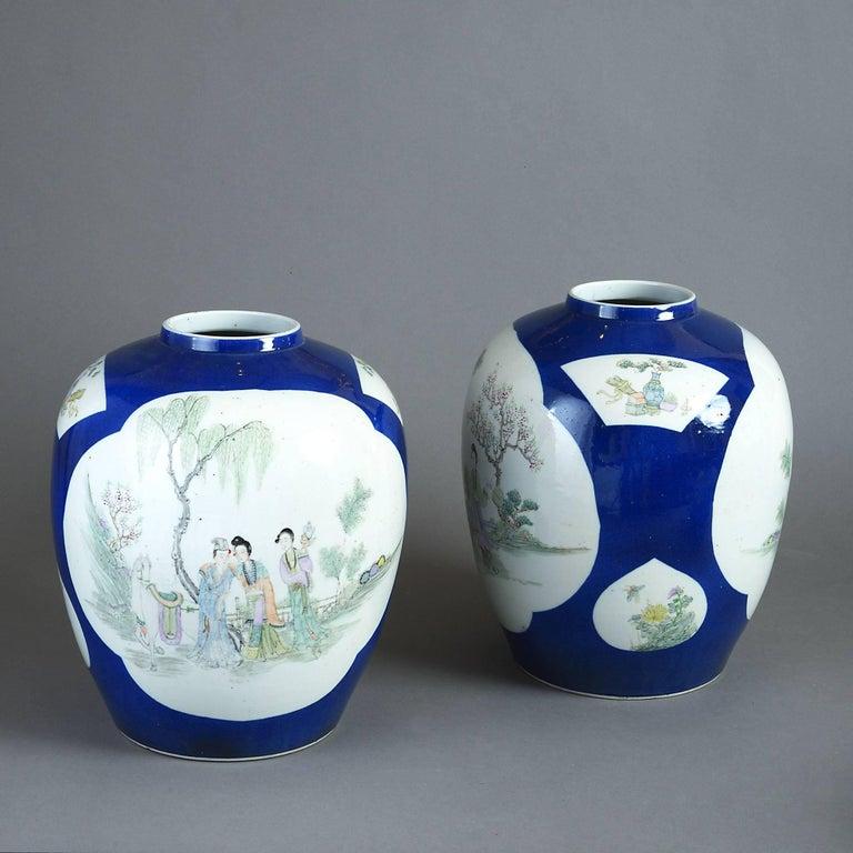 Pair of 19th Century Porcelain Jar Vases 2
