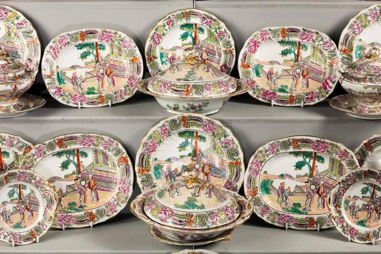 English Late 19th Century Staffordshire Dinner Service For Sale