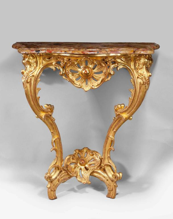 French Louis XV Giltwood Console Table For Sale
