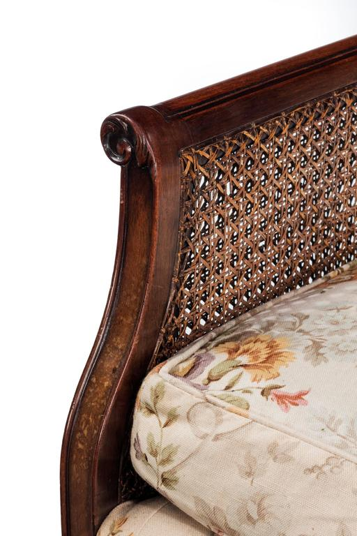 Early 20th Century Mahogany Framed Bergere Sofa For Sale 2