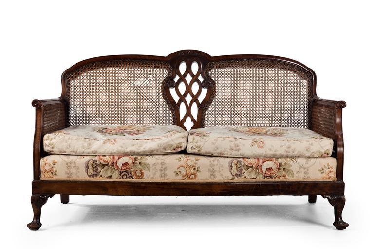 English Early 20th Century Mahogany Framed Bergere Sofa For Sale