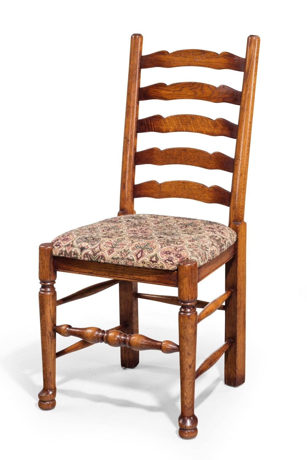 Set of eight 20th century oak ladder back single chairs for Single lounge chairs for sale