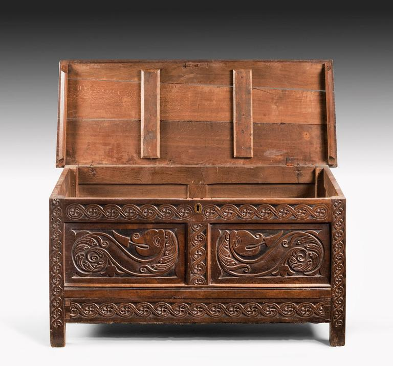 English Charles II Period Oak Dower Chest of Good Size For Sale