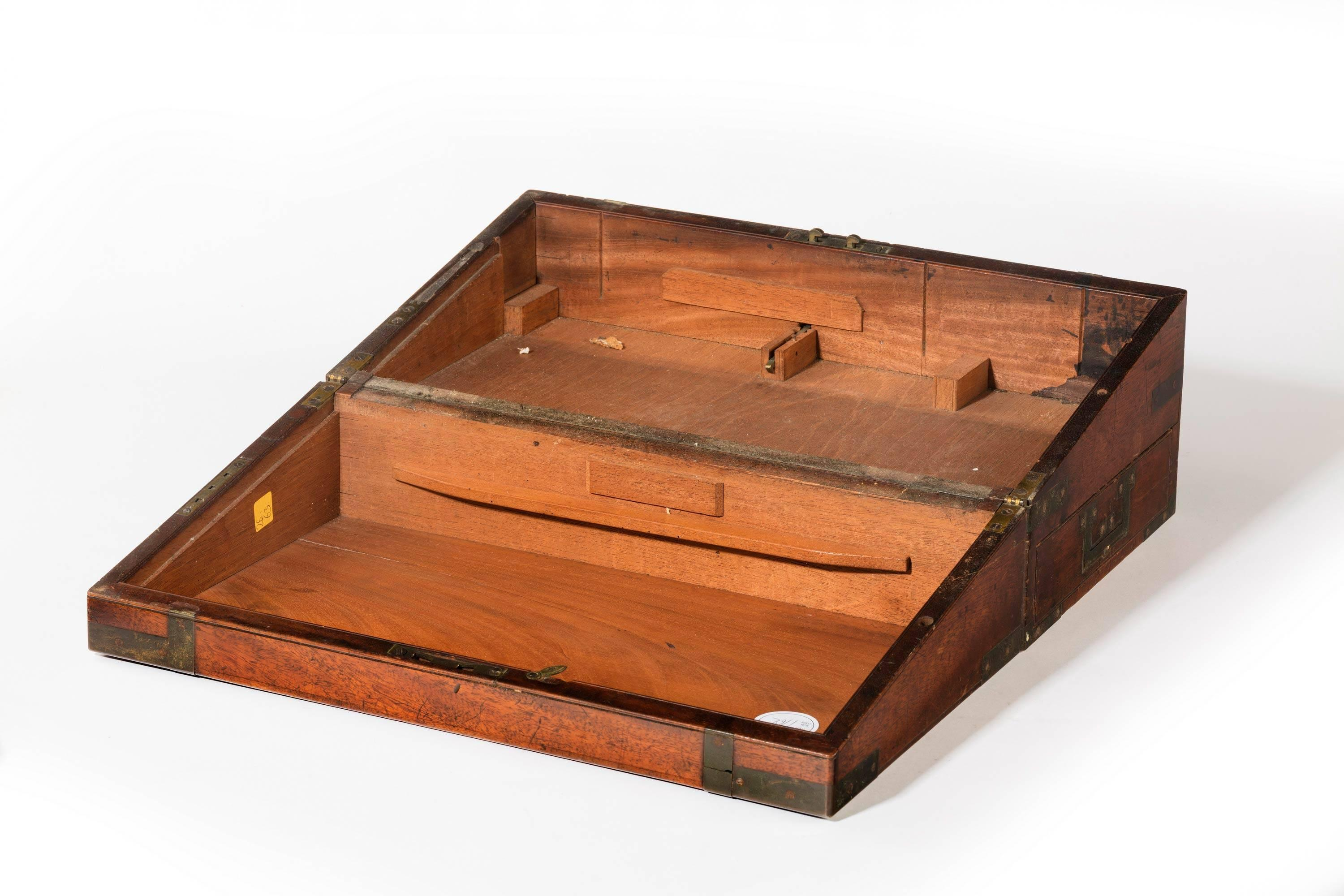 Edwardian (1901-1910) Boxes/chests Precise Vintage Wooden Writing Slope With Brass Corners And Escutcheon*