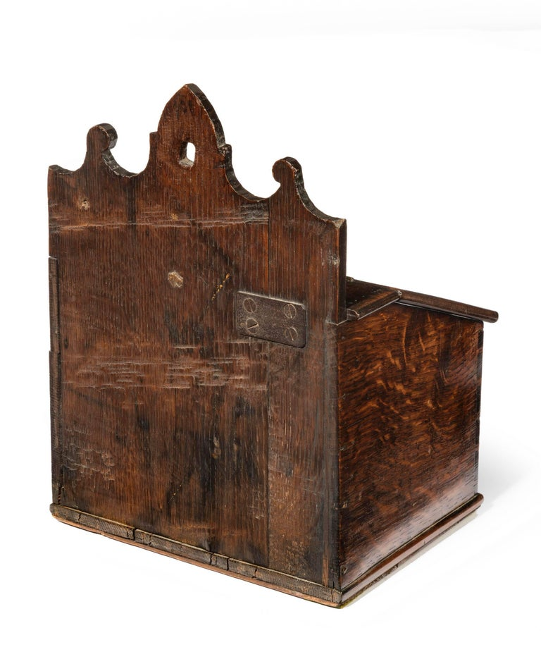 Mid 18th Century Oak Salt Box With A Shaped Hanging
