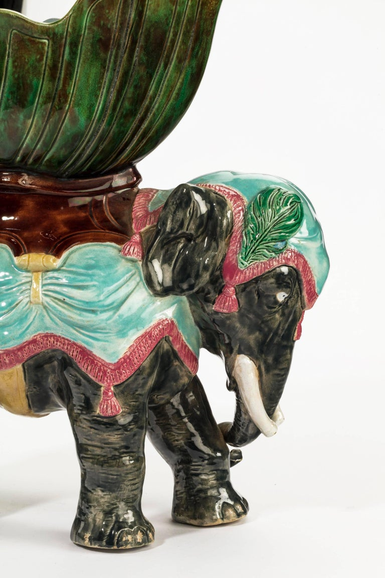 English Late 19th Century Majolica Pottery Elephant Caparisoned with Jardinière For Sale