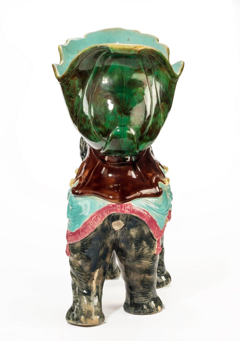 Late 19th Century Majolica Pottery Elephant Caparisoned with Jardinière In Excellent Condition For Sale In Peterborough, Northamptonshire