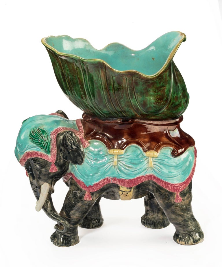 Late 19th Century Majolica Pottery Elephant Caparisoned with Jardinière For Sale 3