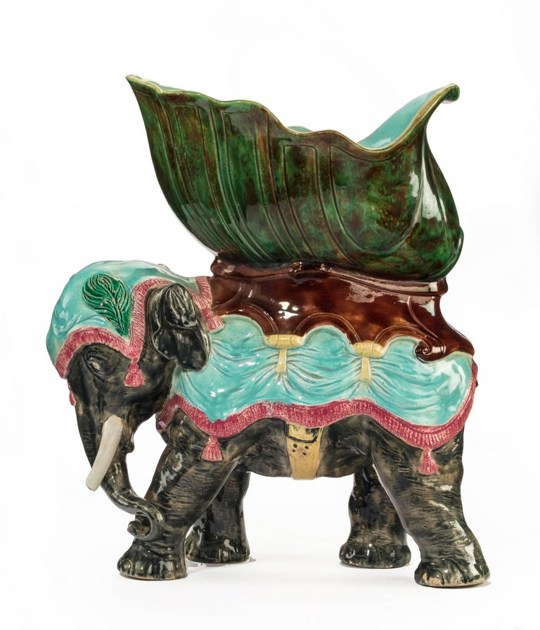 Late 19th Century Majolica Pottery Elephant Caparisoned with Jardinière For Sale 2