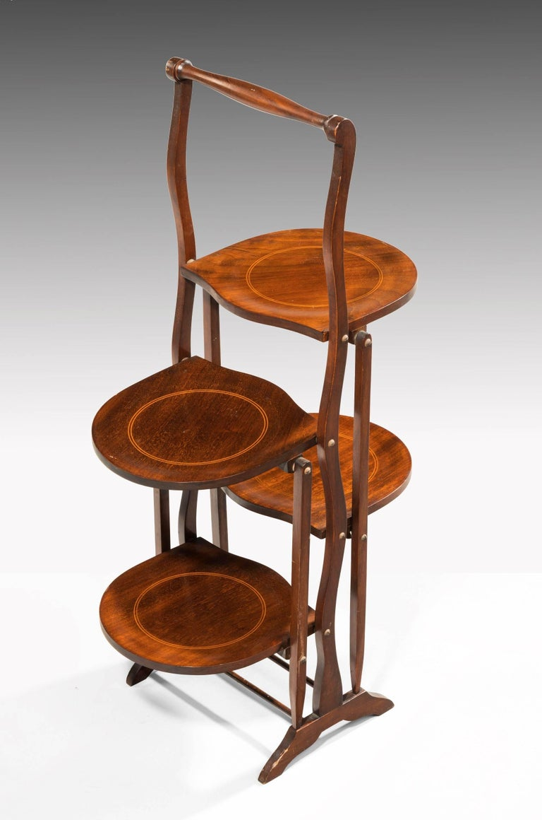 English Late 19th Century Two-Sided Mahogany Folding Cake Stand For Sale