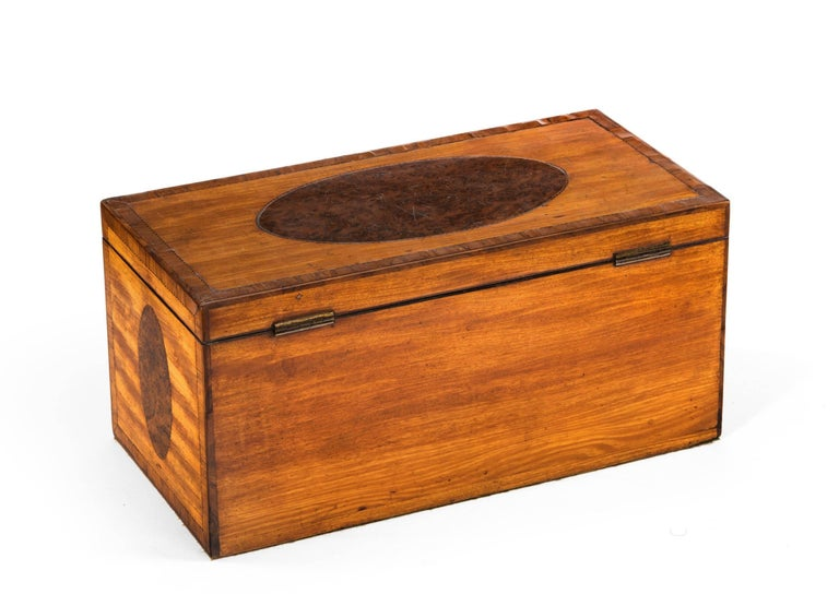 George III Period Satinwood and Burr Yew Tea Caddy For Sale 1