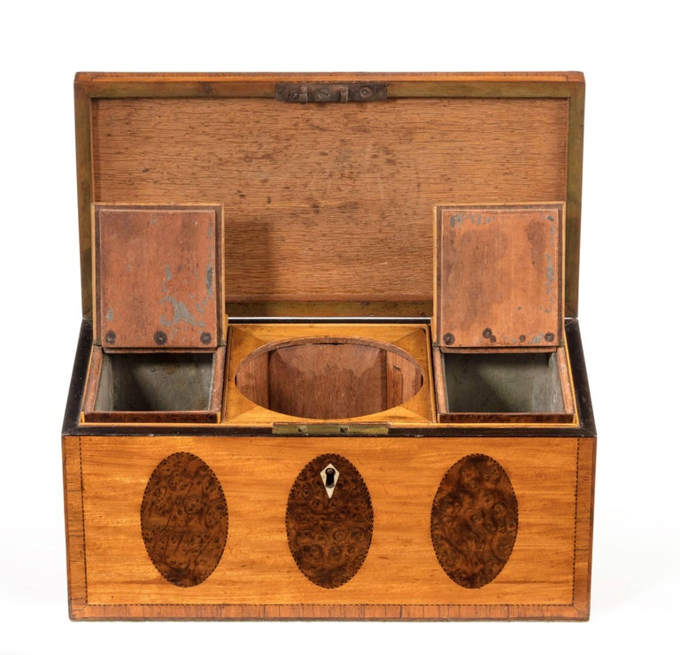 George III Period Satinwood and Burr Yew Tea Caddy In Excellent Condition For Sale In Peterborough, Northamptonshire