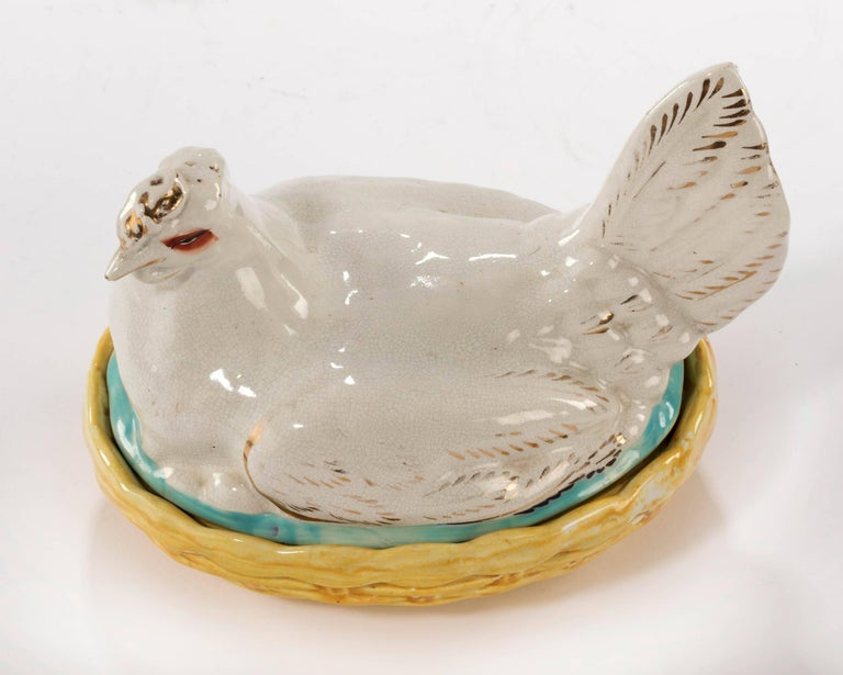 Small 19th Century Staffordshire Hen Basket In Excellent Condition For Sale In Peterborough, Northamptonshire