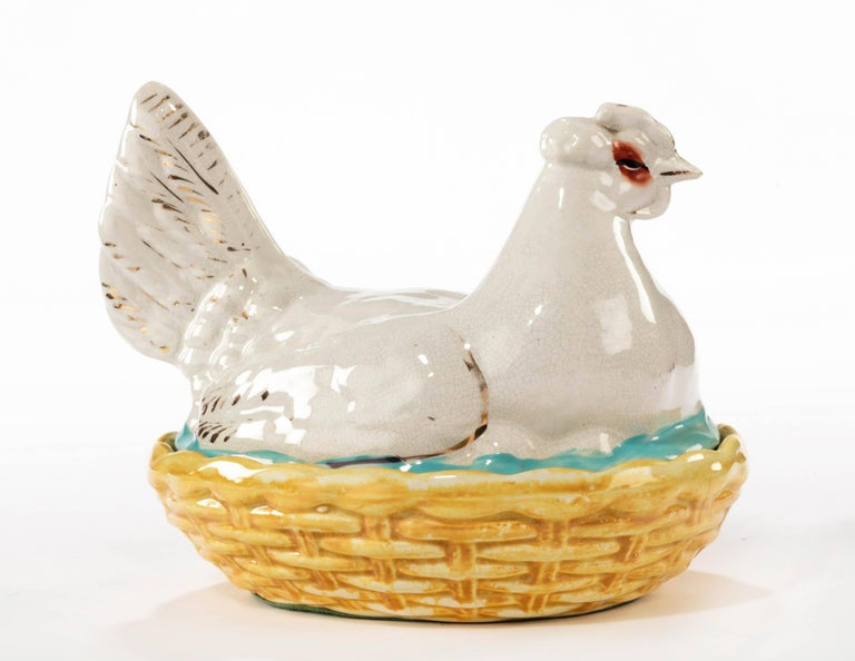 A small Staffordshire 19th century hen basket with gilded and enameled decoration.