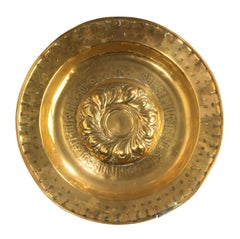 Mid-17th Century Brass Arms Dish with Latin Inscription