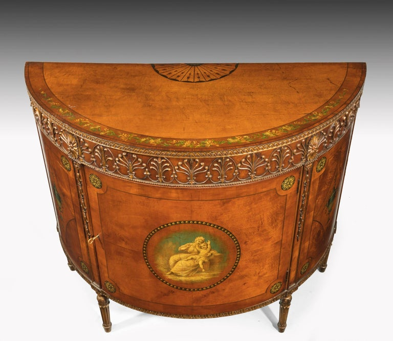 English Pair of Sheraton Style Satinwood Demilune Commodes For Sale