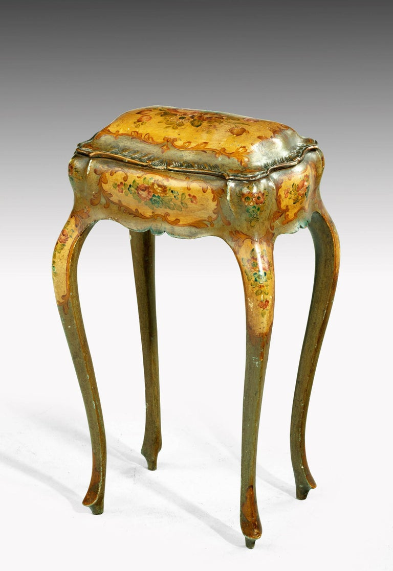 English Painted Ladies Sewing Table of Exaggerated Bombay Form For Sale