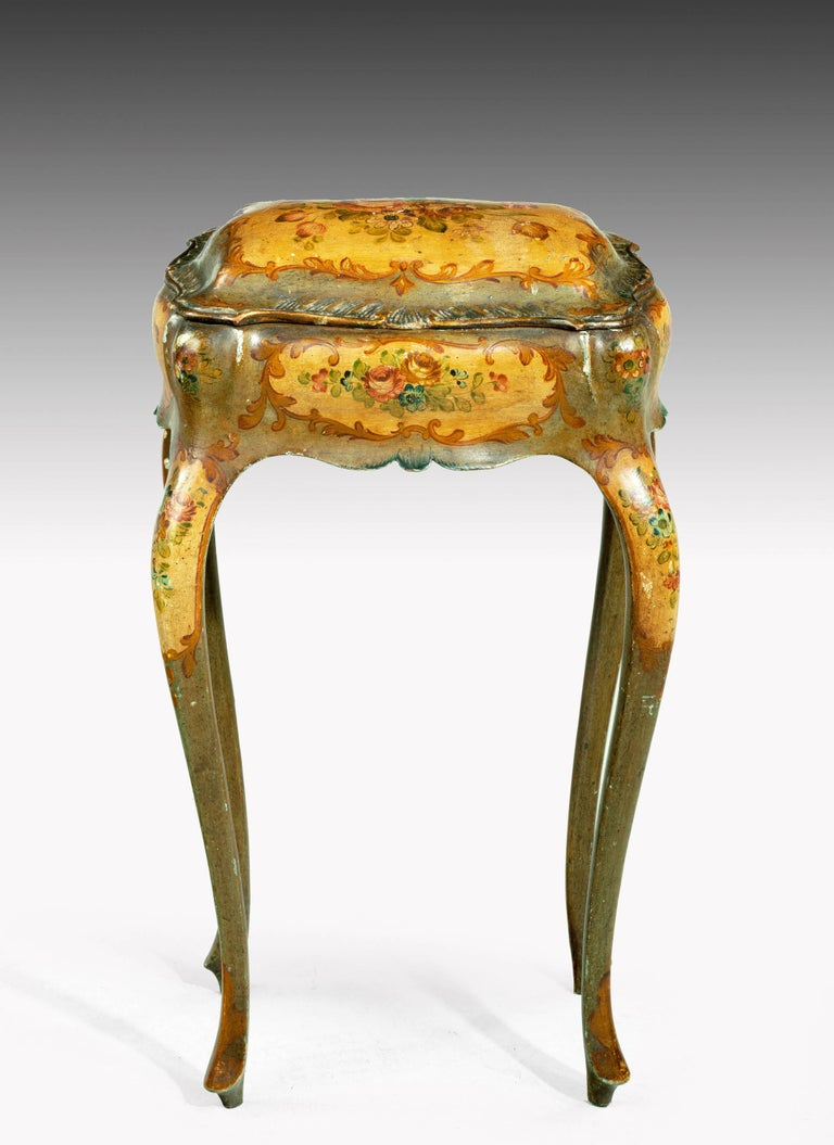 Late 19th Century Painted Ladies Sewing Table of Exaggerated Bombay Form For Sale