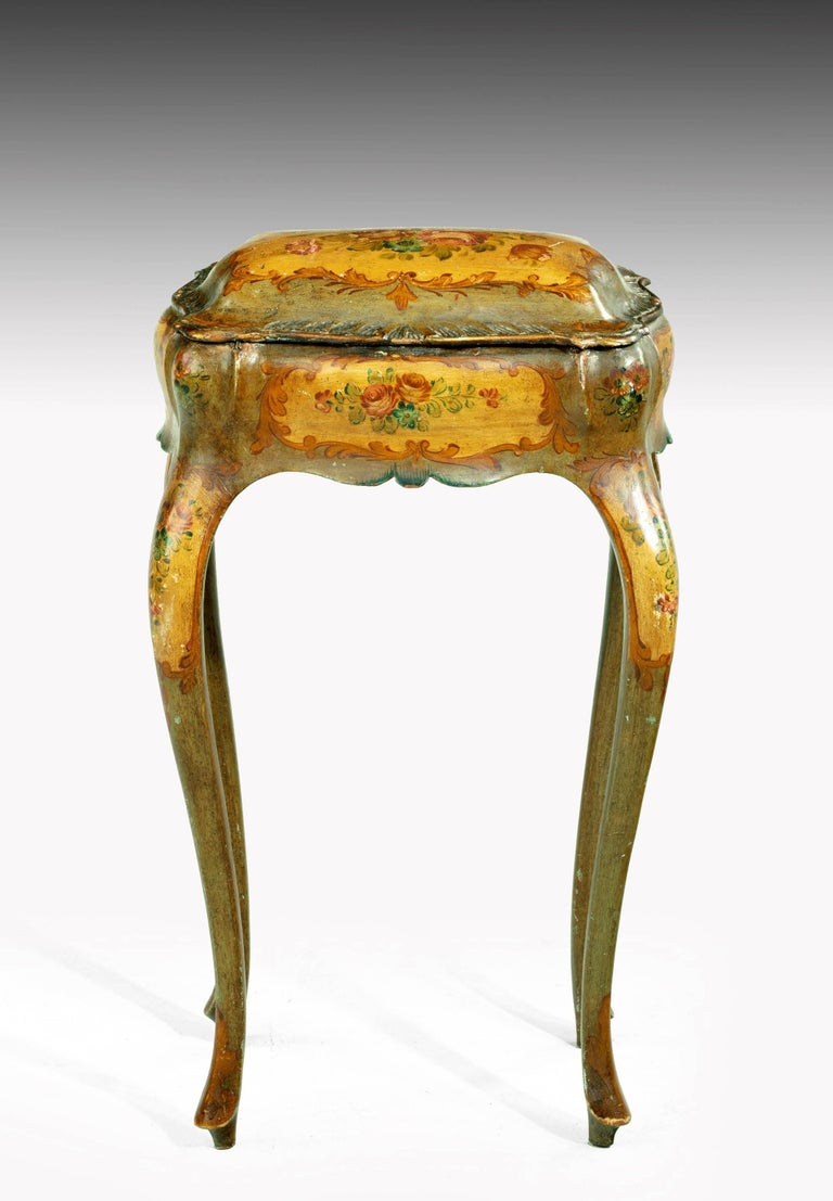 Wood Painted Ladies Sewing Table of Exaggerated Bombay Form For Sale