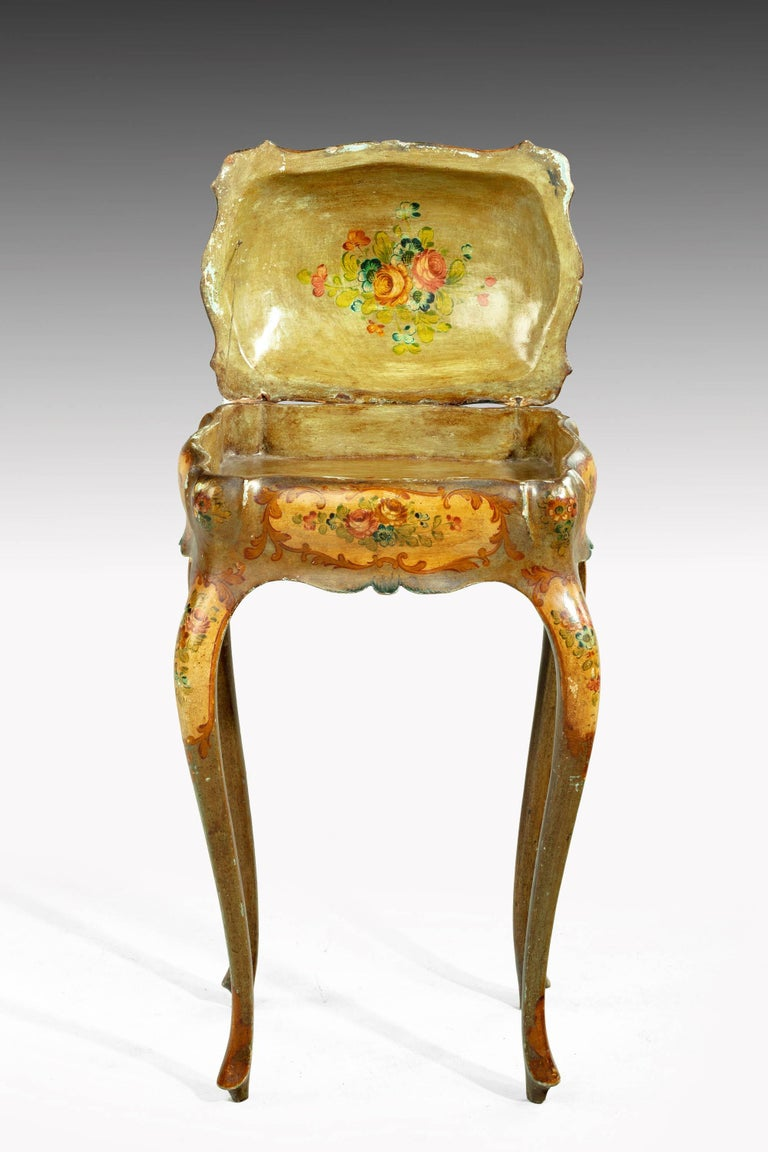 Painted Ladies Sewing Table of Exaggerated Bombay Form For Sale 1
