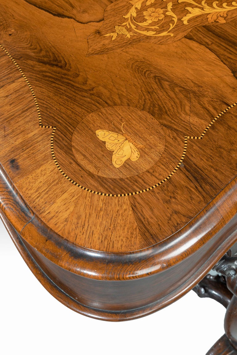 Superb 19th Century Rosewood, Kingwood and Marquetry Centre Standing Table For Sale 10