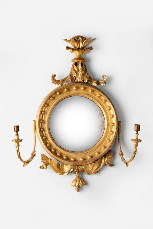 Great Britain (UK) Regency Period Giltwood Convex Mirror For Sale