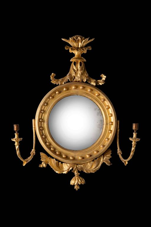 19th Century Regency Period Giltwood Convex Mirror For Sale