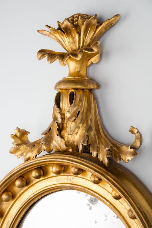 Regency Period Giltwood Convex Mirror For Sale 4