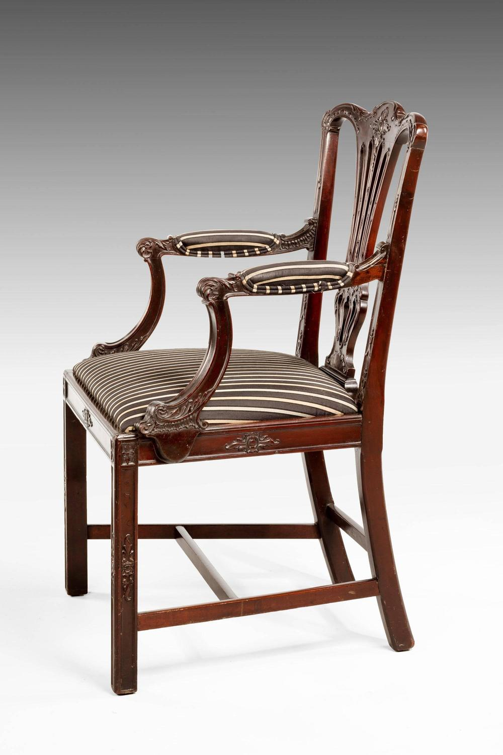 chippendale style mahogany elbow chair for sale at 1stdibs. Black Bedroom Furniture Sets. Home Design Ideas